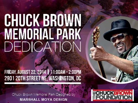 Chuck Brown Memorial Park Ribbon Cutting Flyer August 22, 2014, 11 am to 2 pm (Download an accessible version, below)