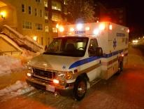 Photo of a Georgetown University ambulance on a winter response call
