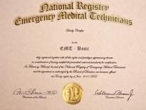 Photograph of a NREMT Certificate