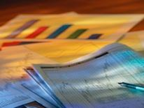 Photo of printed graphs and statistical data