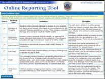 Screen shot of Citizens Online Reporting Tool